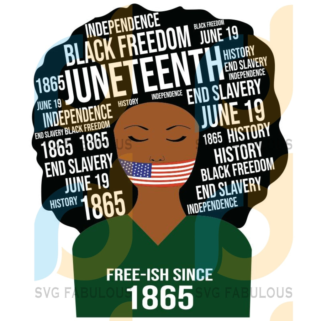Juneteenth Independence Words In Afro Freedom July 4Th Svg Png Dxf Jpg Cricut Or Silhouette Cut File