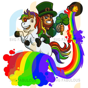 Leprechaun Unicorn Svg Patrick Day Gifts Hats Shamrocks Lucky Happy Party