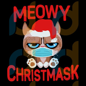 Meowy Christmask svg, merry xmas svg, christmas svg, christmas party, merry christmas svg, christmas saying svg, christmas clip art