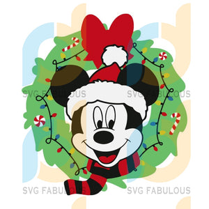 Mickey Mouse Christmas Wreath svg, merry xmas svg, christmas svg, christmas party, merry christmas svg, christmas saying svg, christmas clip art
