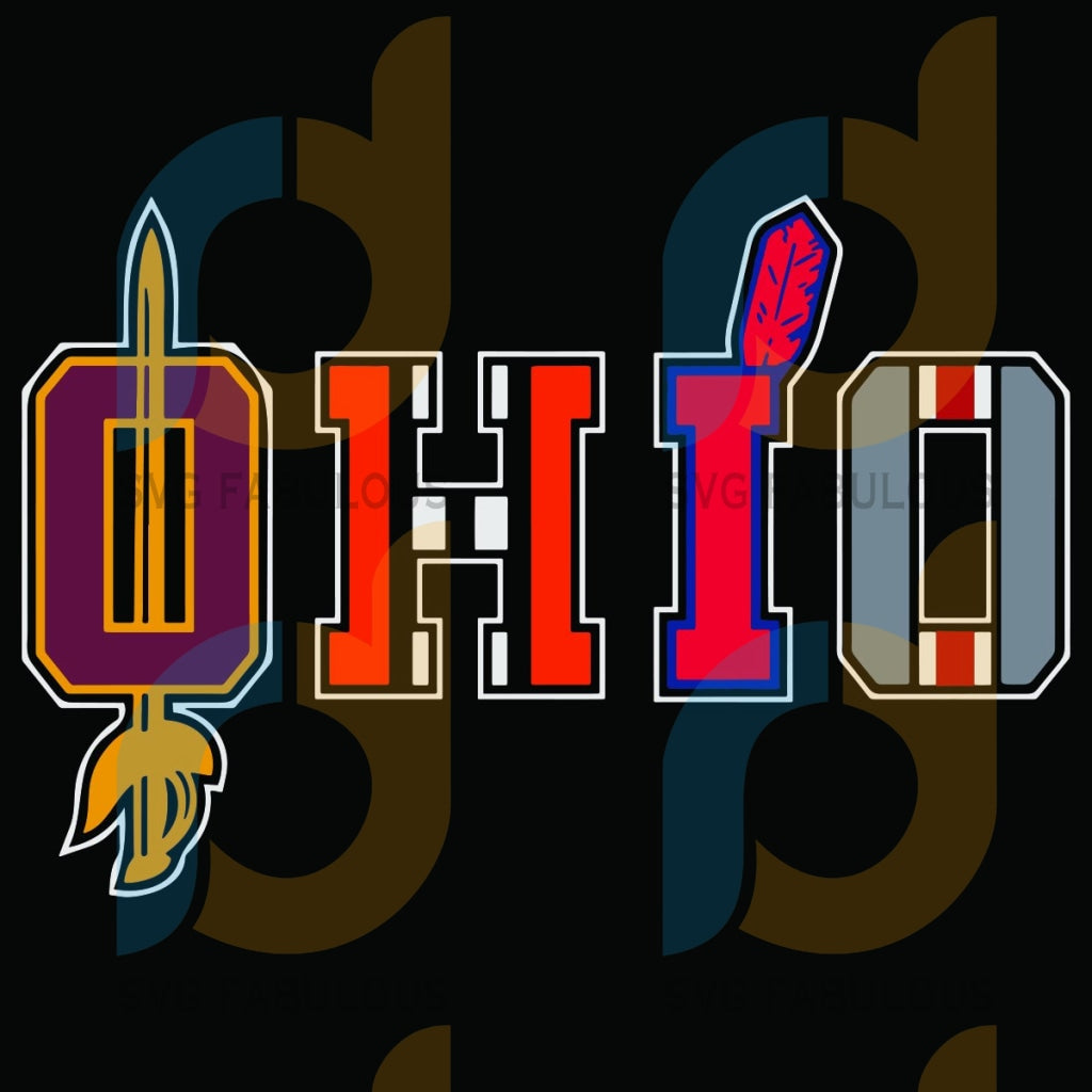 Ohio Svg Trending Gift People Boho Pattern Swords Funny Design Tribe City America State Retro