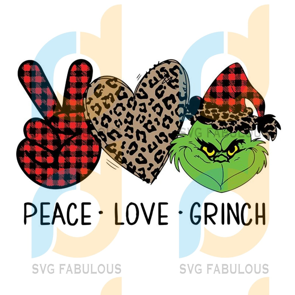 Peace Love Grinch SVG, Grinch Heaf SVG, Peace Love SVG, Heart Leopard svg, merry xmas svg, christmas svg, christmas party, merry christmas svg, christmas saying svg