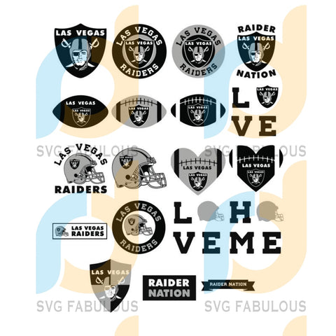 Raiders SVG Bundle Las Vegas NFL Football Layered Svg files for cricut, laser cut vector, png files