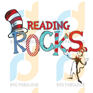 Reading Rocks Svg The Cat In Hat Dr. Seuss Dr Thing One Two Fish Rolax Png Eps Dxf1