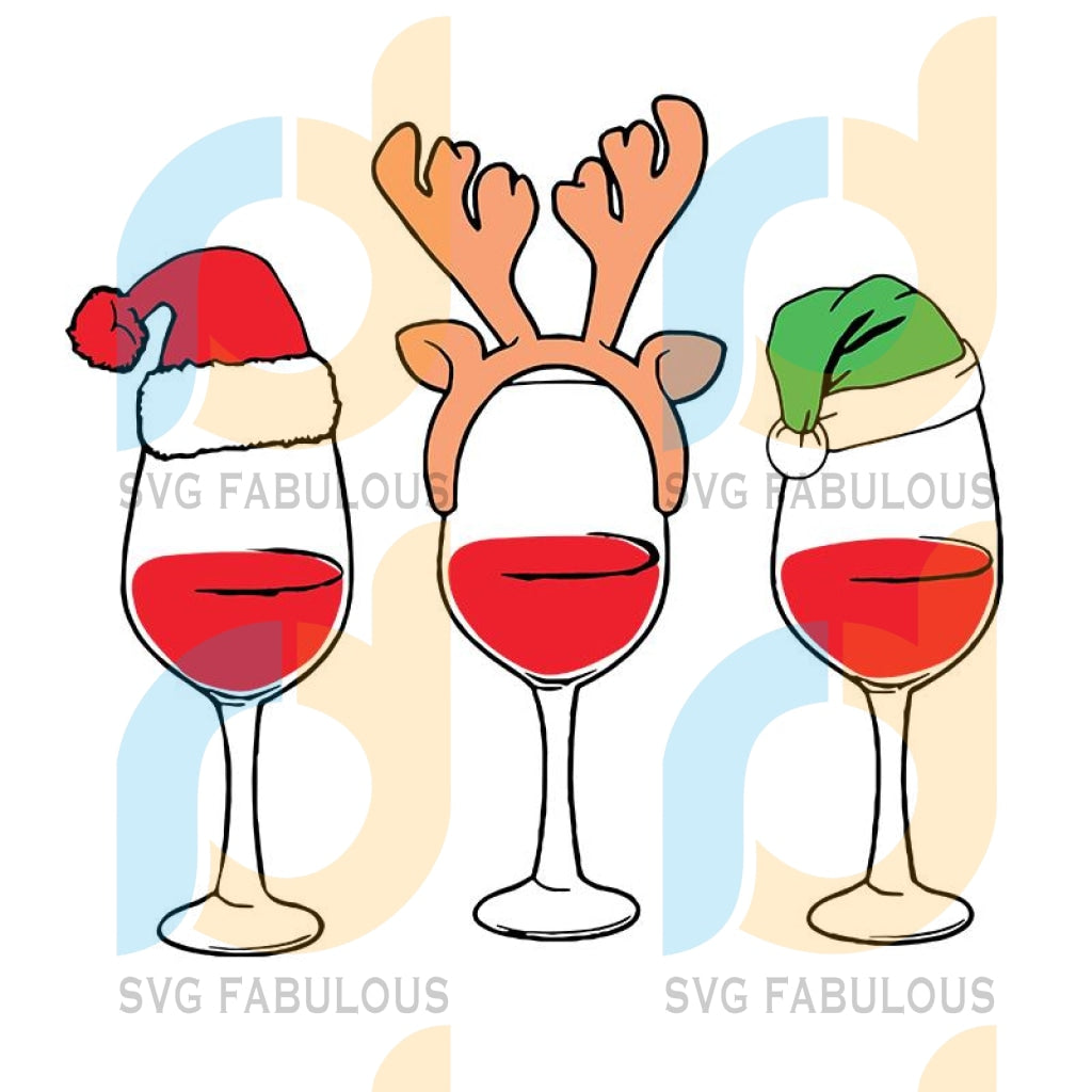 Reindeer Hord Santa Hat Wine Glass svg, merry xmas svg, christmas svg, christmas party, merry christmas svg, christmas saying svg, christmas clip art