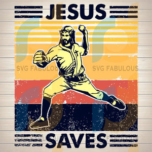 Retro Baseball Jesus Saves SVG PNG DXF EPS Download Files