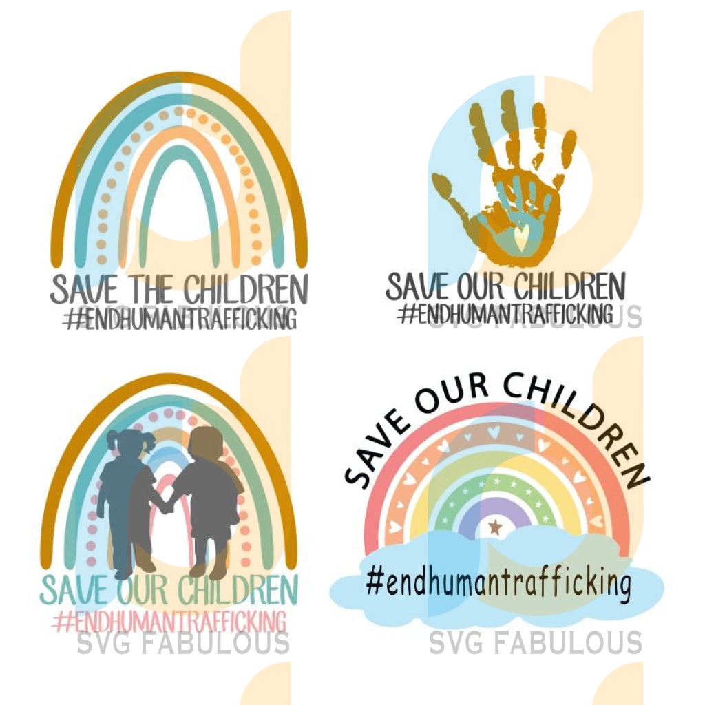 Save Our Children Svg, End Human Trafficking Awareness Rainbow Hearts Svg, #endhumantrafficking