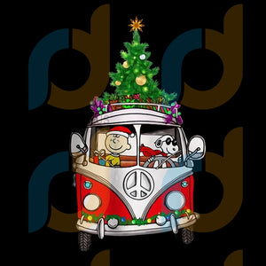 Snoopy and Charlie Brown hippie car Christmas png, merry xmas png, christmas png, christmas party, merry christmas png, christmas saying png, christmas clip art