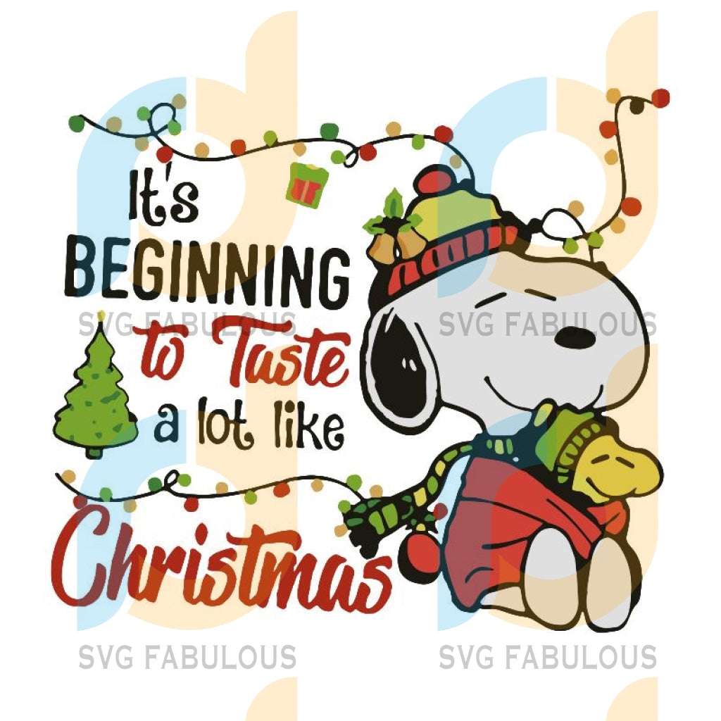 Snoopy and Woodstock It's beginning to taste a lot like Christmas svg, merry xmas svg, christmas svg, christmas party, merry christmas svg, christmas saying svg, christmas clip art