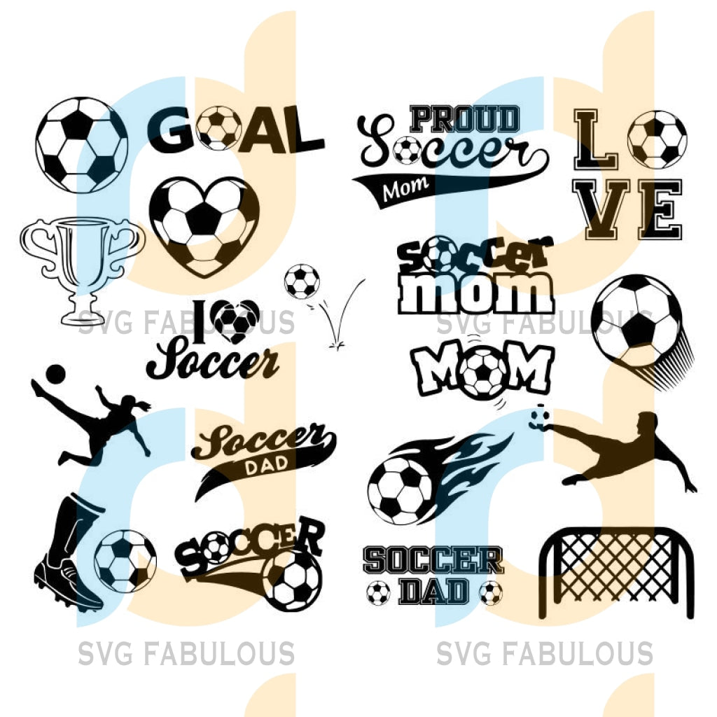 Soccer Bundle Svg Files For Silhouette Cricut Dxf Eps Png Instant Download