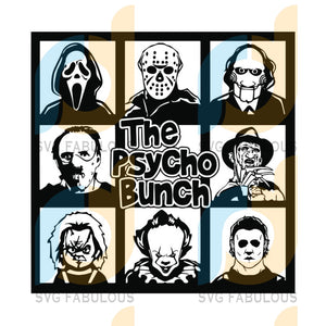 The Psycho Bunch Friends Horror Movie Creepy Team Halloween, Halloween Svg, Cricut File, Silhouette Cameo, Horror Svg