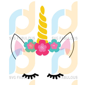 Unicorn Sleeping Face Svg Trending Unicorn Dabbing Birthday Party Clipart Lover Horn Vector Head