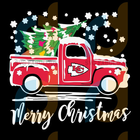 Vintage Car Carrying Christmas Tree Kansas City Chiefs Merry Christmas ,NFL Svg, Football Svg, Cricut File, Svg