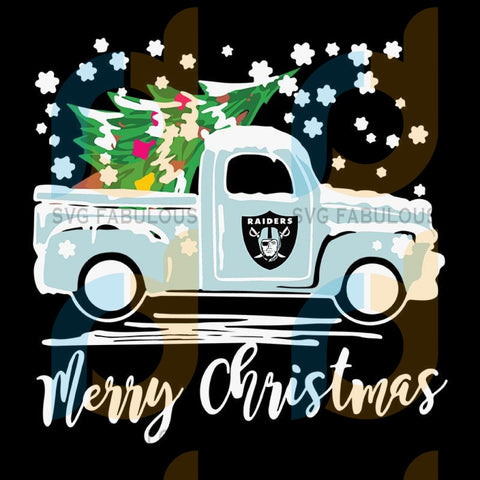 Vintage Car Carrying Christmas Tree Oakland Raiders Merry Christmas ,NFL Svg, Football Svg, Cricut File, Svg
