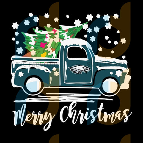 Vintage Car Carrying Christmas Tree Philadelphia Eagles Merry Christmas ,NFL Svg, Football Svg, Cricut File, Svg