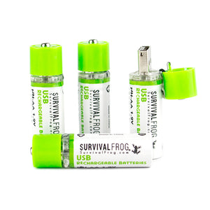 USB Rechargeable Batteries 3 standing with one cap open the other laying sideway