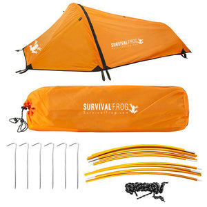 Solo Single Person Backpacking Bivvy Tent w/ Rain Fly - Survival Frog