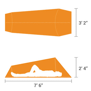 Orange Bivy Tent diagram showing man and size of tent