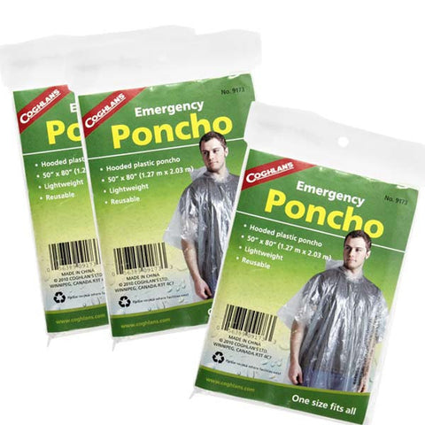 Compact, Lightweight Emergency Rain Ponchos with Hood - 3 Pack
