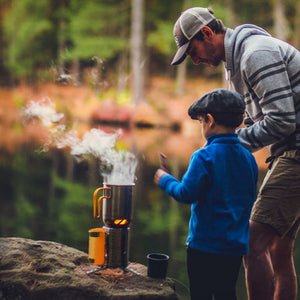 Man & Son using BioLite CampStove 2