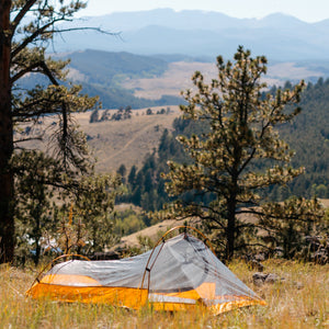 Orange Bivy Tent without rainfly with mountain background