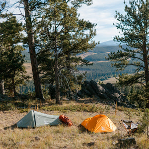 Orange & Green Bivy Tents in the mountains
