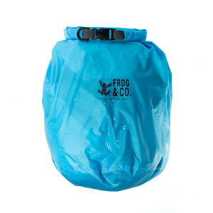 Blue Lightweight Dry Bag with gear inside and water drops on outside