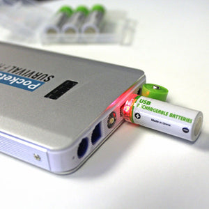 USB Rechargeable Batteries plugged into pocket jumper charging