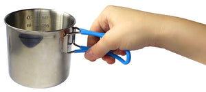 Camping cup side view with hand holding handles