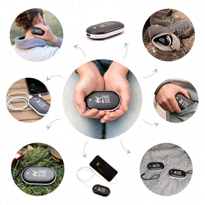 Electric Hand Warmer infographic showing all the ways you can use it
