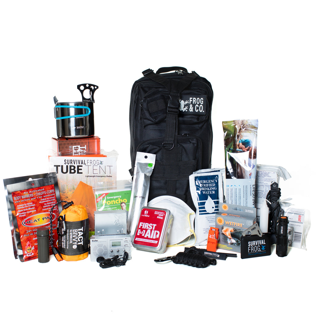 SURVIVAL FROG LIFESHIELDA(R) ALL-IN-ONE BUG OUT BAG + 6 SURVIVAL KITS