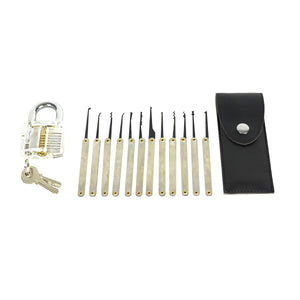 Lock Pick Set with all pieces laid out on white background