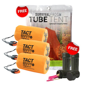 UPGRADE TO 3 ORANGE TACT BIVVY® EMERGENCY SLEEPING BAGS GET FREE BONUS GEAR