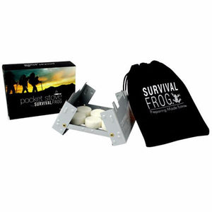 Pocket Stove Folding Camping Stove with 6 Hexamine Fuel Tablets - Survival Frog