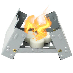 Pocket stove with fake flames