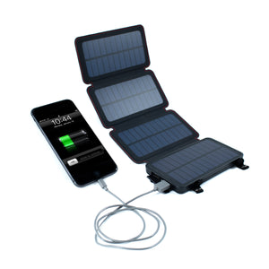 QuadraPro Solar Power Bank plugged in and charging cell phone