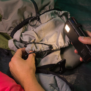 QuadraPro Solar Power Bank - flashlight lighting inside tent