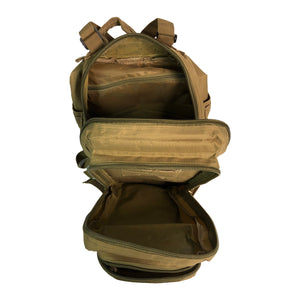 Tan Tactical Backpack looking down inside pack