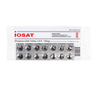 IOSAT Potassium Iodide Radiation Blocking Tablets 14 Count (130 Mg) - Survival Frog