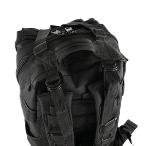 Black Tactical Backpack close up on back straps