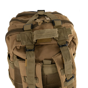 Tan Tactical Backpack close up on back straps