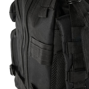 Black Tactical Backpack close up on side pockets