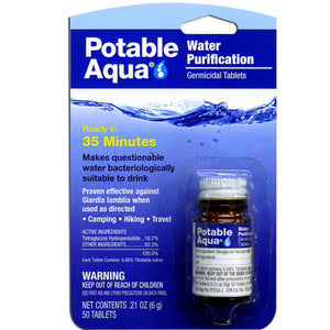 H20 Water Survival Kit - 50 Water Purification Tablets and Six (6) 4.25 Oz. Pouches of Water - Survival Frog