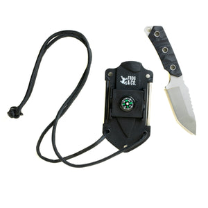 Neck knife with lanyard and knife outside of sheath
