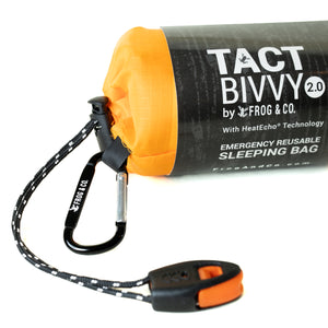 orange bivy with carbiner whistle and grey sleeve