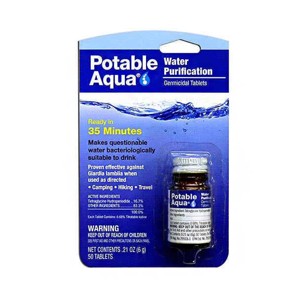 Potable Aqua Water Purification Tablets 50 Tablet Bottle By Liberty Mountain