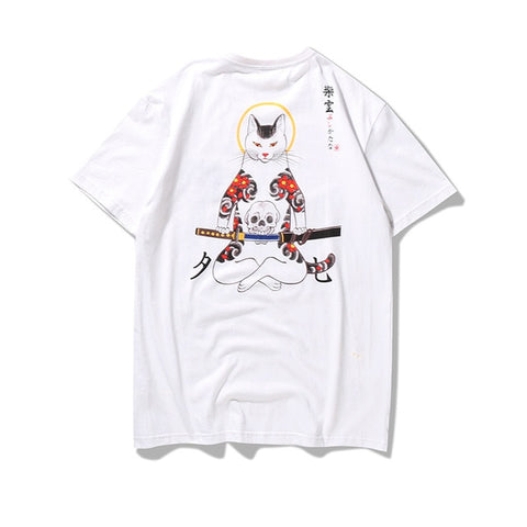 Japan Style Ukiyo Samurai Cat T-Shirt