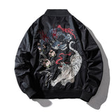 Dragon Tiger Embroidery Bomber Jacket