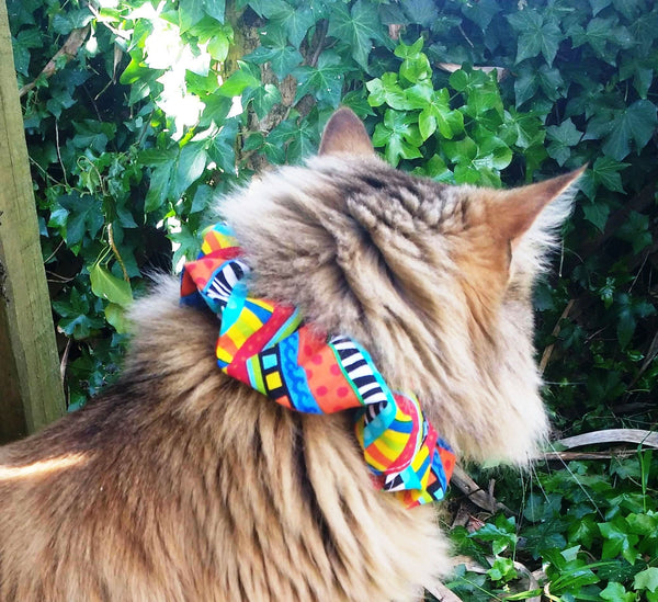 Cat Collar Cover - Red with multicoloured dots