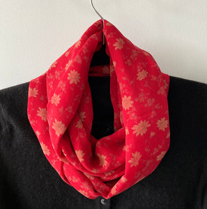 Silk Scarf - Red with daisies